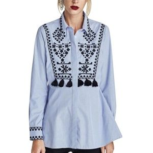 Zara Striped Embroidered Tassel Button Down